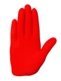 Stop. Hand in a red rubber glove symbolizing the signal stop stock image