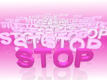 Stop. Word STOP in 3D space royalty free illustration