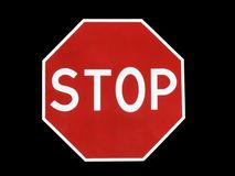 STOP. Road sign STOP isolated on black Royalty Free Stock Photo