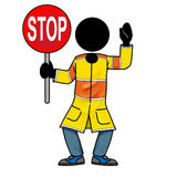 Stop. Cartoon action icon of a silhouette man holding a stop sign Stock Photography