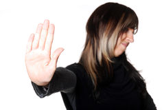 Stop. Young serious woman says stop Royalty Free Stock Images
