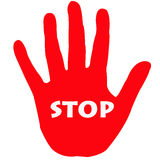Stop. Illustration of a red hand with stop text written Stock Images
