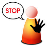 Stop. Vector isolated red yellow orange person with black hand sign stop and speech bubble with word Stop on white background stock illustration
