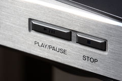 Stop. Dvd/cd player panel with stop button in focus Stock Photo