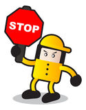 Stop. Illustration of traffic sign with cartoon style Royalty Free Stock Photography
