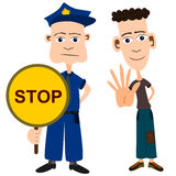 Stop. A set of two cartoon characters gesturing to stop, first a policeman with a stop sign, second a young man making a hand stop gesture Stock Images