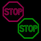 Stop. Neon pink and green stop signs stock illustration