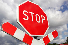 Stop !. Stop sign on the roadside in Poland royalty free stock photography