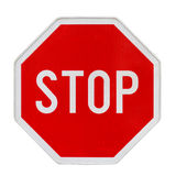 Stop. Traffic sign with new retroreflective fine surface Royalty Free Stock Photos