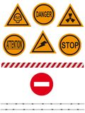 Stop. Signs on an interdiction and the prevention, barbed wire, barrier - a vector Royalty Free Stock Photo