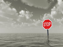 Stop. Sign at water landscape - 3d illustration Stock Photo