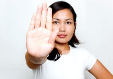 Stop. Woman with hand stop sign Stock Photography