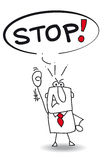 Stop. A man says stop stock illustration