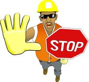 Stop!. Vector roadman with a stop-sign Stock Photography