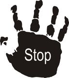 Stop!!!!. Illustration of hand with signal Stock Photo