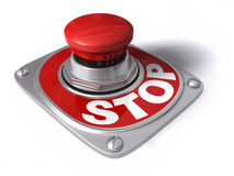 Stop. Button over white, concept of cease, pause, interrupt, etc Stock Photography