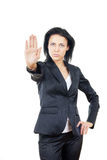 Stop. Serious businesswoman making stop sign Royalty Free Stock Photo