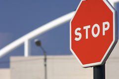 Stop. Red stop sign in town Stock Image