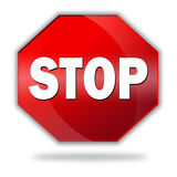 STOP. Icon. Shiny and glossy royalty free illustration