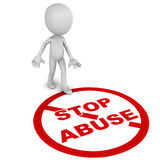 Stop Abuse. Word being stepped upon by a little man on white background royalty free illustration