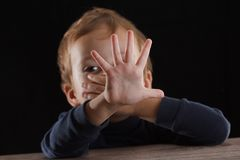 Stop abusing violence. violence, terrified , A fearful child stock photography