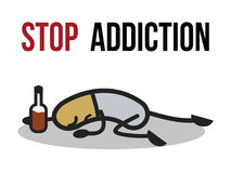Stop addiction, Alcohol, Conceptual vector illustration. Stock Photography