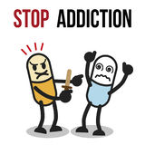Stop addiction, Amphetamine, Conceptual vector illustration. Royalty Free Stock Images
