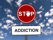 Stop addiction road sign Royalty Free Stock Images