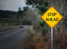 STOP AHEAD road sign on street Royalty Free Stock Photo