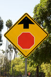Stop Ahead sign. Warning road sign. Clear blue sky Stock Photography