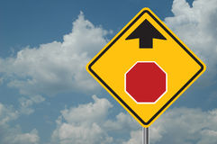 Stop Ahead Sign. With clouds in the background Stock Images