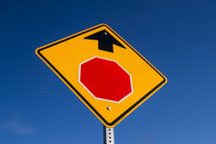 Stop ahead. The Stop Ahead sign with blue skies in background royalty free stock photography