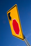 Stop ahead. The Stop Ahead sign with blue skies in background royalty free stock photos