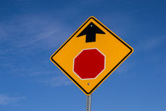 Stop ahead. The Stop Ahead sign with blue skies in background royalty free stock images