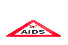 Stop AIDS and HIV, capsule with Warning Sign Stock Photos