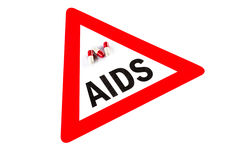 Stop AIDS and HIV, capsule with Warning Sign Stock Photo