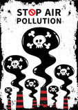 Stop air pollution with skull vector illustration. Fumes from industrial pipes pollute environment graphic design. Ecological problems with toxic atmosphere Stock Photo