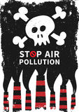 Stop air pollution with skull vector illustration. Fumes from industrial pipes pollute environment graphic design. Ecological problems with toxic atmosphere Royalty Free Stock Photo