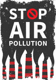 Stop air pollution vector illustration. Fumes from industrial pipes pollute environment graphic design. Ecological problems with toxic atmosphere creative Stock Image