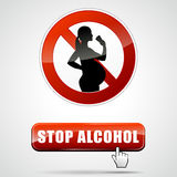 Stop alcohol. Illustration of stop alcohol for pregnant woman vector illustration