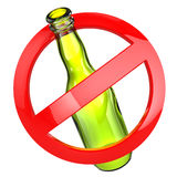 Stop alcohol or No glass sign.  Bottle on white isolated backgro Royalty Free Stock Photography