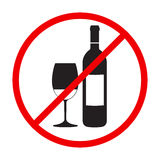 Stop alcohol red round sing Royalty Free Stock Image