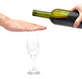 Stop alcoholism concept. Hand over glass - stop alcoholism concept stock photos