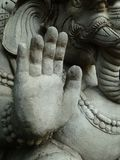 Stop. Ancient elephant statue Thailand holding up hand Royalty Free Stock Image
