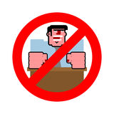 Stop angry boss. It is forbidden to shout. Strikethrough evil bo Royalty Free Stock Images