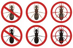 Stop ant signs. Set of insect pest control signs. Vector. Royalty Free Stock Photo