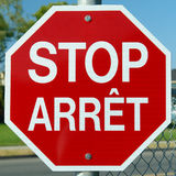 Stop Arret Sign Red Stock Photos