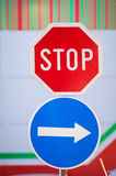 Stop and arrow sign Royalty Free Stock Image