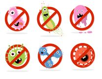Stop bacteria cartoon vector illustration Stock Photography