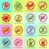 Stop Bacteria Cartoon Vector Illustration No Virus Stock Image